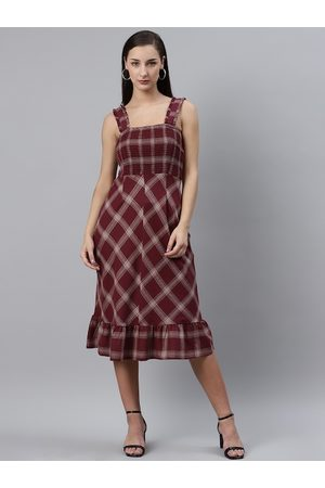Pluss Women Burgundy & White Checked Midi A-Line Dress with Smocked Detail