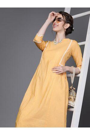 Inddus Women Peach-Coloured & Golden Pure Cotton Striped Kurta