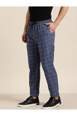 SOJANYA Men Blue & Black Pure Cotton Checked Track Pants