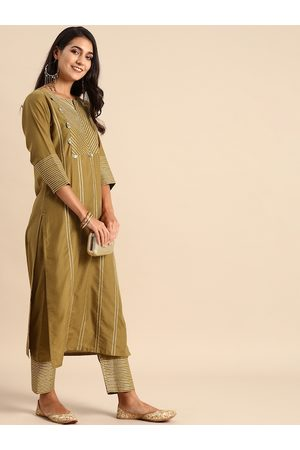 Varanga Women Olive Brown Striped Kurta with Trousers