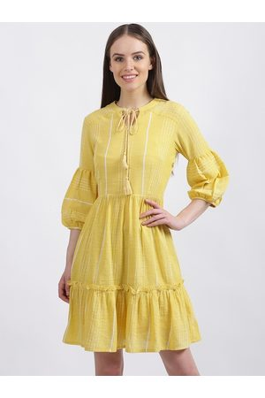 Zink London Women Yellow Solid Fit and Flare Dress