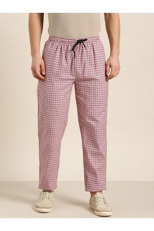 SOJANYA Men Pink & Maroon Pure Cotton Checked Track Pants