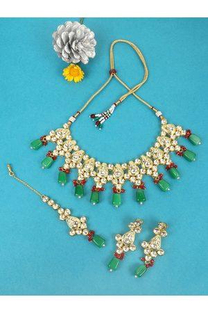 JEWELS GEHNA Gold-Plated White Kundan-Studded & Green Beaded Vilandi Jewellery Set