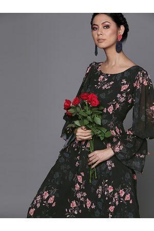 Inddus Women Black & Pink Floral Printed Georgette Maxi Dress