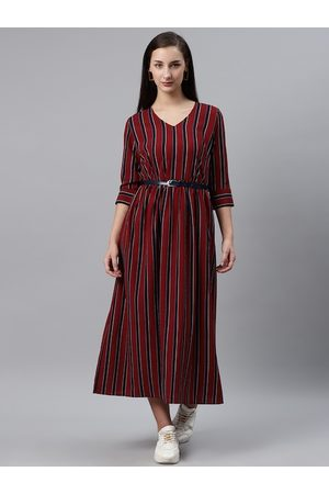 Pluss Women Maroon & Navy Striped Midi A-Line Dress