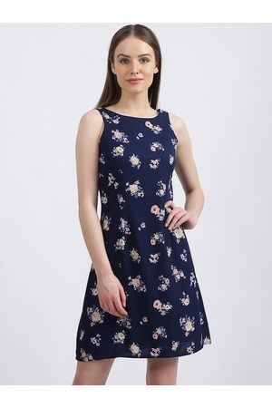 Zink London Women Printed Dresses - Women Navy Blue Printed Fit and Flare Dress