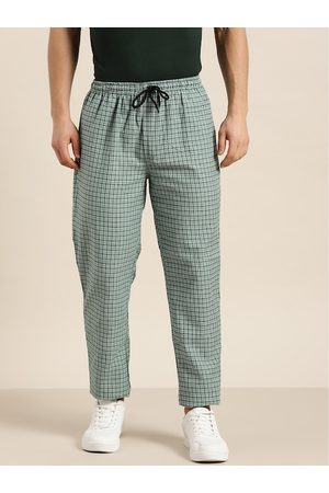 SOJANYA Men Green & White Pure Cotton Checked Track Pants