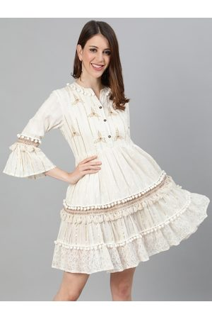 Ishin Women Off-White Self Design Fit and Flare Dress