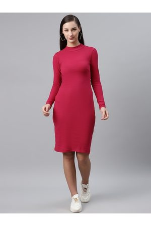 Pluss Women Dresses - Women Pink Ribbed Solid Sheath Dress