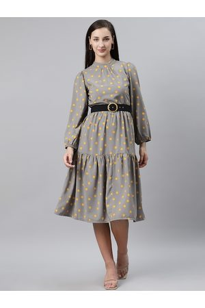 Pluss Women Grey & Yellow Polka Dot Print A-Line Dress