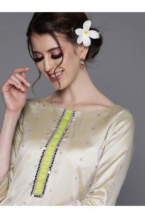 Inddus Women Off White & Golden Woven Design Straight Kurta