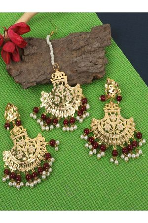 JEWELS GEHNA Women Jewellery Sets - Gold-Plated White & Red Pearl Beaded Jadau Traditional Jewellery Set