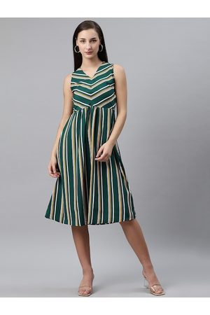 Pluss Women Green & White Striped A-Line Dress