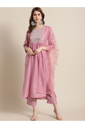 Varanga Women Pink & Silver-Toned Yoke Design Kurta with Palazzos & Dupatta