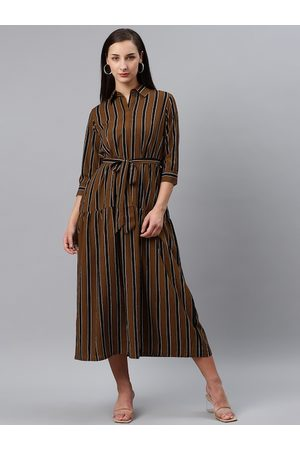 Pluss Women Brown & Black Striped Midi A-Line Dress