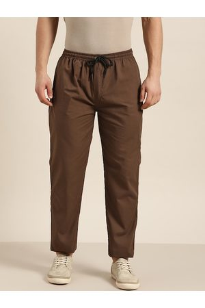 SOJANYA Men Trousers - Men Brown Pure Cotton Solid Track Pants