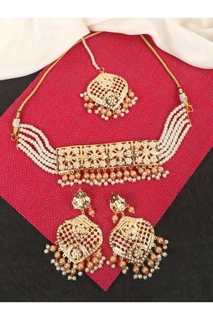 JEWELS GEHNA Gold-Plated White & Peach-Coloured Pearl Beaded Jewellery Set