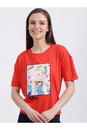 Zink London Women Red Printed Round Neck T-shirt