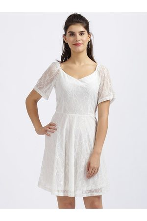 Zink London Women White Self Design Fit and Flare Dress