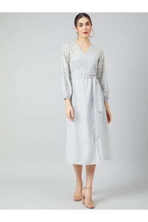 ATHENA Women Grey Self Design Fit and Flare Dress