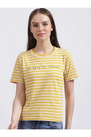 Zink London Women Yellow Striped Round Neck T-shirt
