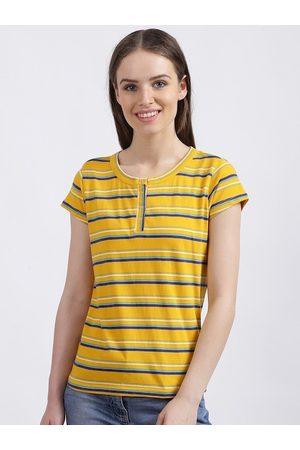 Zink London Women Yellow Striped Henley Neck T-shirt
