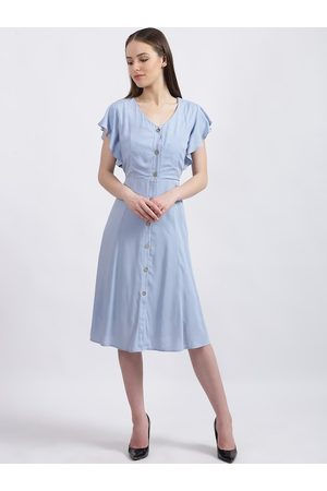 Zink London Women Blue Solid Fit and Flare Dress