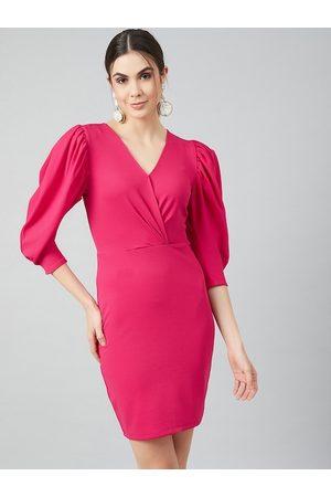 ATHENA Women Fuchsia Pink Solid Sheath Dress
