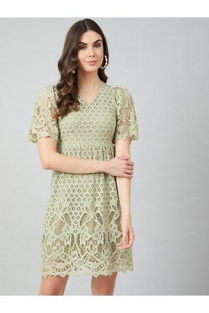 ATHENA Women Sea Green Self Design A-Line Dress