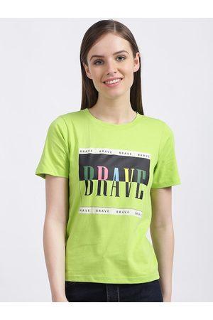 Zink London Women Green Printed Round Neck T-shirt