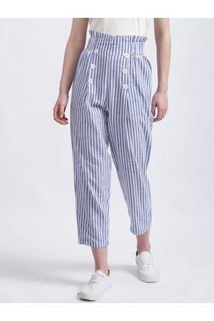 Zink London Women White Regular Fit Striped Regular Trousers