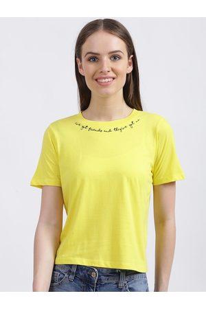 Zink London Women Yellow Solid Round Neck T-shirt