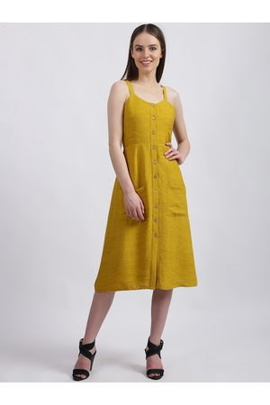 Zink London Women Mustard Solid Fit and Flare Dress