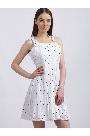 Zink London Women White Printed Fit and Flare Dress