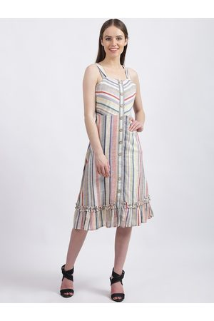 Zink London Women Off-White Striped Fit and Flare Dress