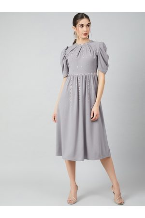 ATHENA Women Grey Solid Fit and Flare Dress
