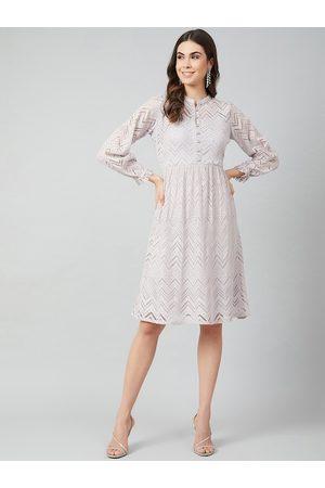 ATHENA Women Dresses - Women Grey Self Design Fit and Flare Dress