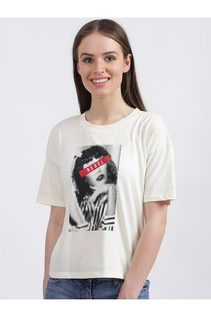 Zink London Women White Printed Round Neck T-shirt