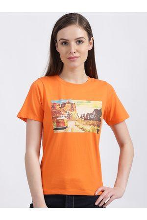 Zink London Women Orange Printed Round Neck T-shirt
