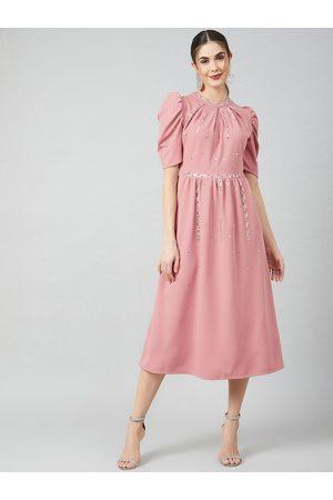 ATHENA Women Pink Solid A-Line Dress