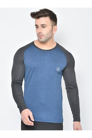 CHKOKKO Men T-shirts - Men Blue Colourblocked Round Neck T-shirt