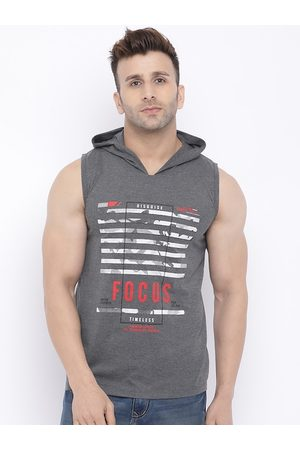 CHKOKKO Men Grey Printed Hood T-shirt