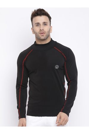 CHKOKKO Men Black Solid High Neck T-shirt