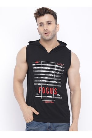 CHKOKKO Men Black Printed Hood T-shirt