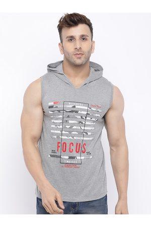 CHKOKKO Men Grey Printed Hood Gym Tank T-shirt