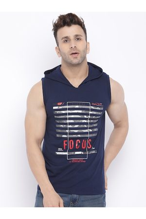 CHKOKKO Men T-shirts - Men Navy Blue Printed Hood T-shirt