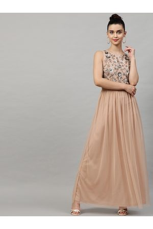 STREET 9 Women Peach-Coloured Embellished Maxi Dress