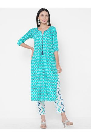 FASHOR Women Blue & White Printed Top with Salwar