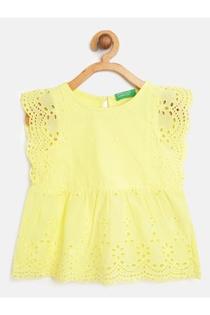 Benetton Yellow Schiffli Floral Embroidered Pure Cotton A-Line Top