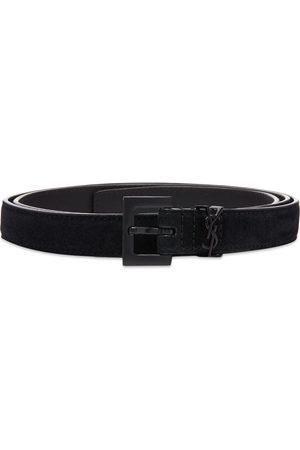 Saint Laurent Men Belts - YSL Metal Logo Belt